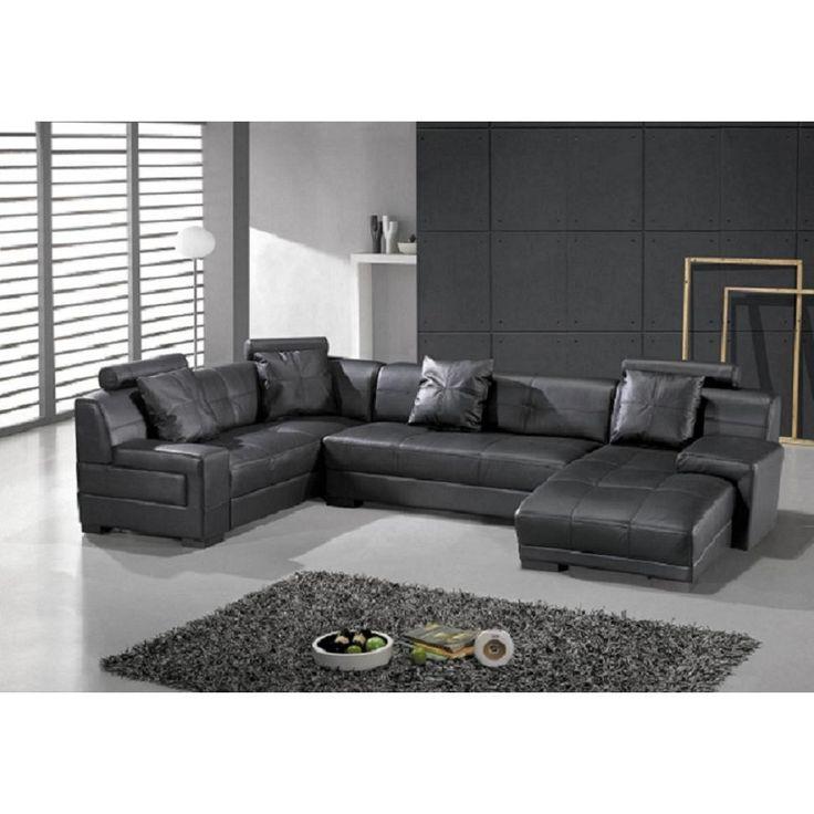 St Petersburg Modern Contemporary Black Sectional Sofa Set