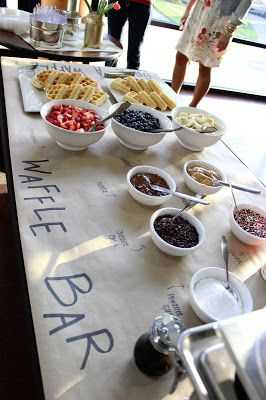 I just like to butcher paper idea for buffet style food @ wedding. - use for caramel apple bar                                                                                                                                                     More