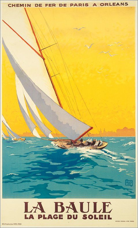 Vintage Sailing Poster La Baule Vintage Travel Posters