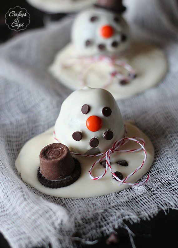 Melting Snowman OREO Cookie Ball Recipe - Cookies and Cups