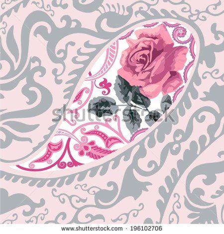 Традиционный Стиль Красочные Пейсли Розы Бандана. Потертый Шик. - stock vector