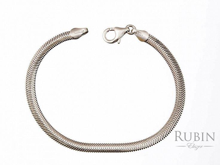 Ródiumos ezüst lap kígyó karlánc