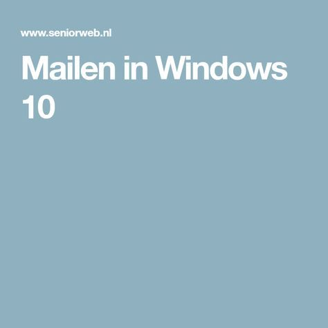Mailen in Windows 10