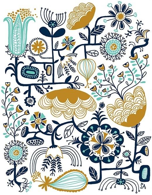 Color   Flower illustration // #teal #blue #gold