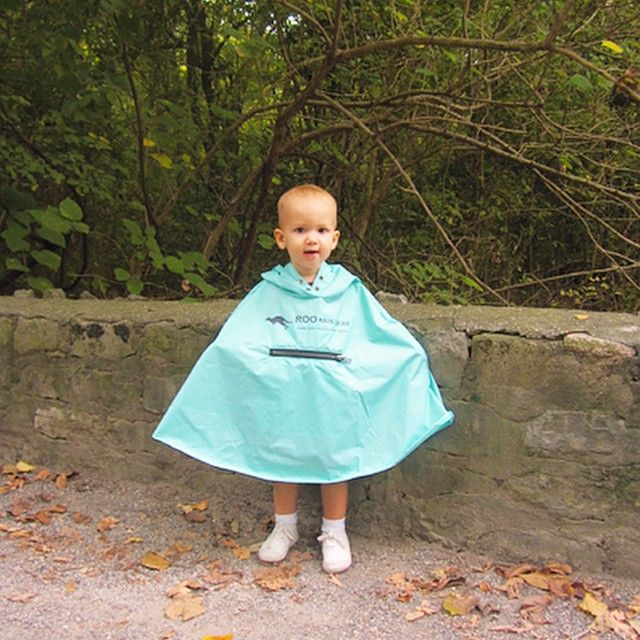 What a cutie in her Roo Rain Gear waterproof poncho made from 100% recycled plastic bottles