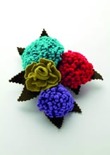 Chrysanthemum Brooches from Angela Hope. Tactile and colourful