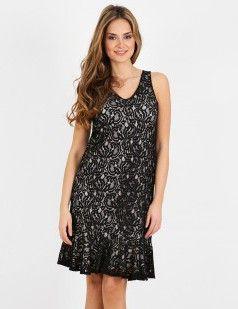 Black lace peplum hem mini dress