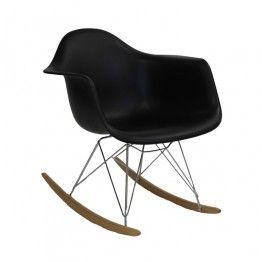 Кресло-качалка из пластика, черное - EAMES RAR REPLICA