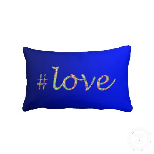 Hash Tag Love Cobalt  - by Greta Thorsdottir - Lumbar Pillow from Zazzle