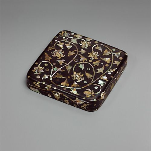 "Small Box Decorated with Peony Scrolls Korea, 15th-16th century The Metropolitan Museum of Art ""Lacquer has a long history on the Korean peninsula, though surviving examples of lacquer with mother-of-pearl decoration date from the Goryeo dynasty and..."