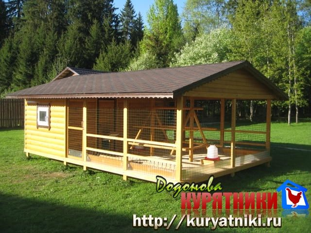 Курятник зимний люкс большой, желтый, с коричневой крышей