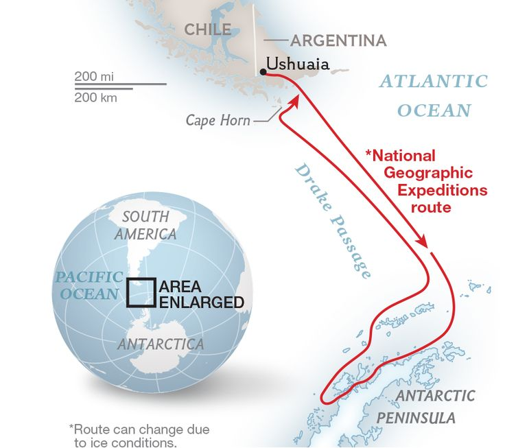 National Geographic Expeditions route to Antarctica.  NG Maps