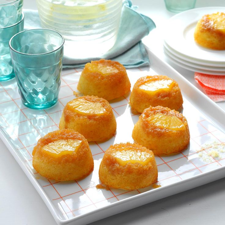 Pineapple Upside-Down Muffin Cakes Recipe -A friend submitted this recipe to a cookbook our school district was compiling. The first time I made them, the whole family declared the recipe a winner. Delicious and healthy to boot, they remain favorites to this day. —Joan Hallford, North Richland Hills, Texas