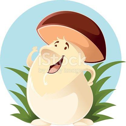 Vector image of a happy cartoon Mushroom