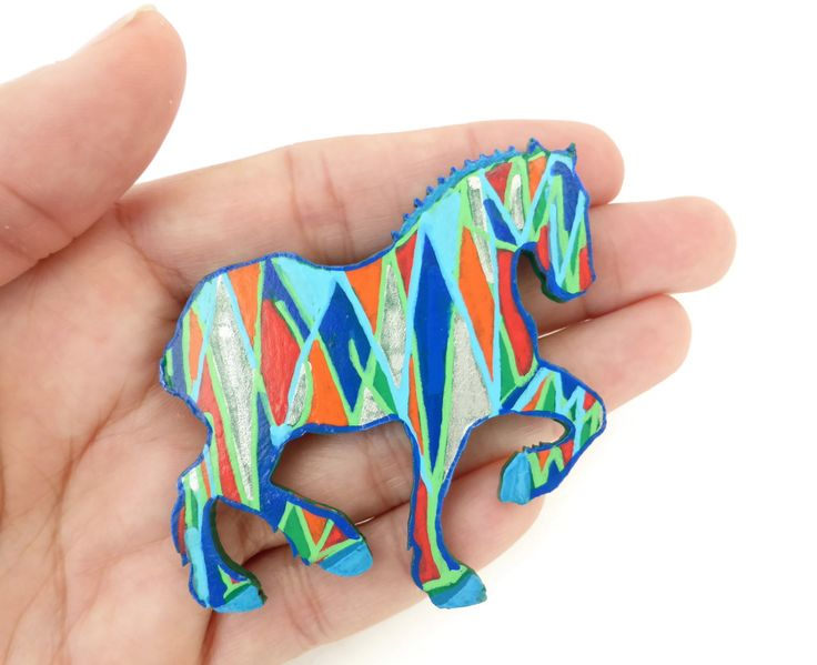 Horse Brooch Pin, Painted Jewelry, Equestrian Brooch, Heavy Horse Jewelry, Gift For Her,  Horse Lover Gift, Costume Jewelry, Animal Jewelry by Larryware on Etsy