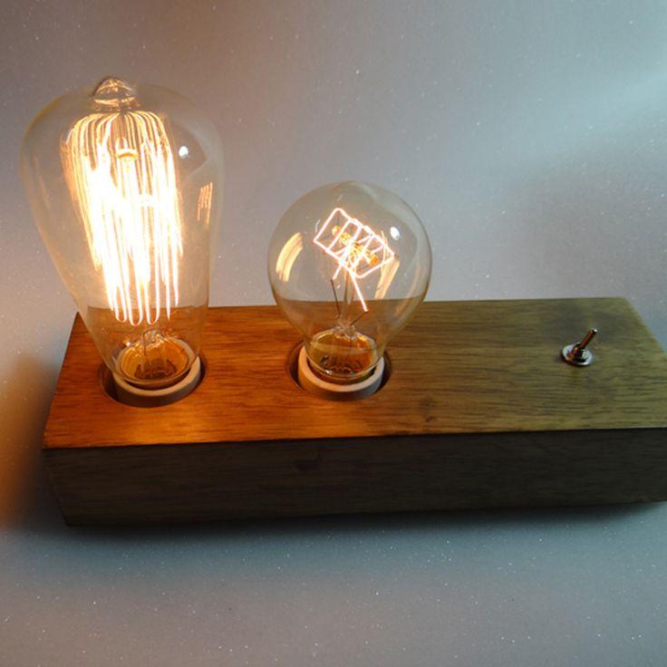 Loft de madeira do Vintage de cabeceira de madeira maciça lâmpadas decoração da lâmpada de iluminação escurecimento lâmpada de E27 40 W Edison lâmpadas(China (Mainland))