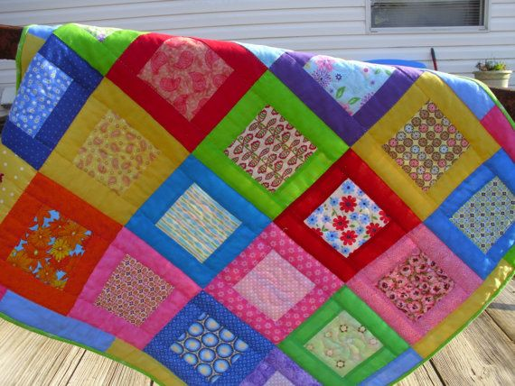 FINAL MARKDOWN Square Within A Square Crib by mommawhazelsquilts, $50.00