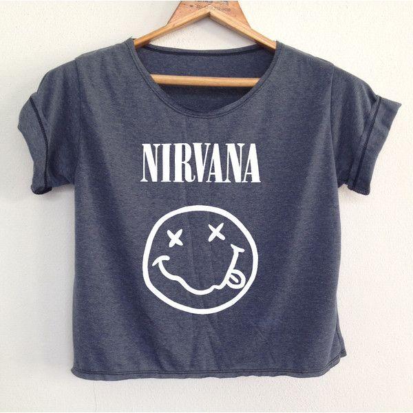 DenimJeanBag Crop Nirvana Tank Tunic Nirvana Crop Top Shirt Tshirt... ($13) ❤ liked on Polyvore featuring tops, tunics, shirts, band shirts, black, crop tops, women's clothing, black crop shirt, shirts & tops and shirt tunic