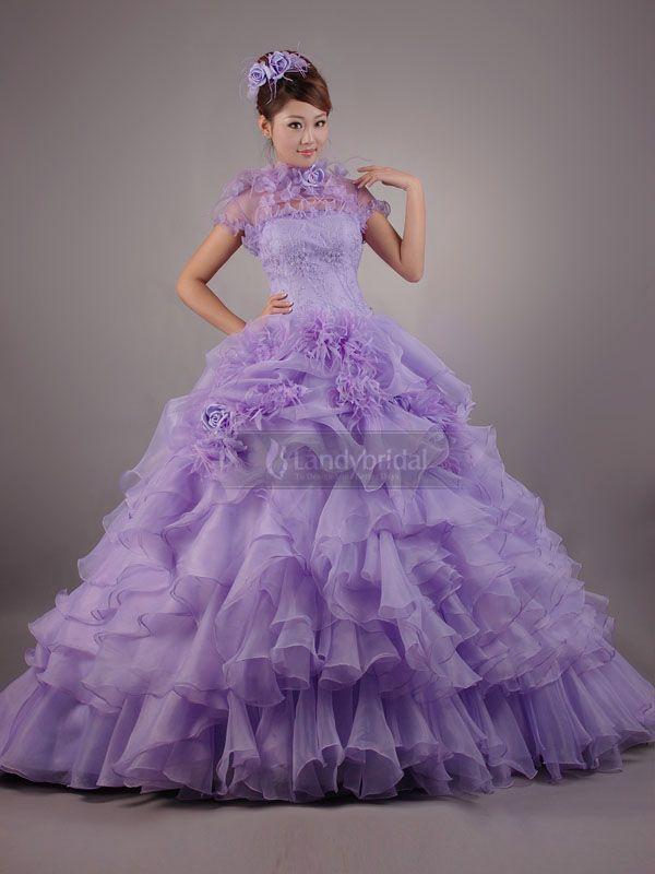 カラードレス プリンセスドレス 紫色 ボレロ付き フリル お色直し 花嫁ドレス Pclbvj0095
