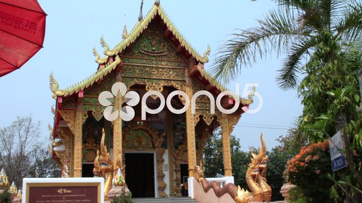 Buddhist Temple Religious Monument Gold Statues Trees Thailand - Stock Footage | by RyanJonesFilms #thailand #buddha #buddhist #temple #statue #belief #religion #religious #worship #travel #culture #sightseeing #tourist #demon #art #prayer #asia #monk #thai #gold #buddhism