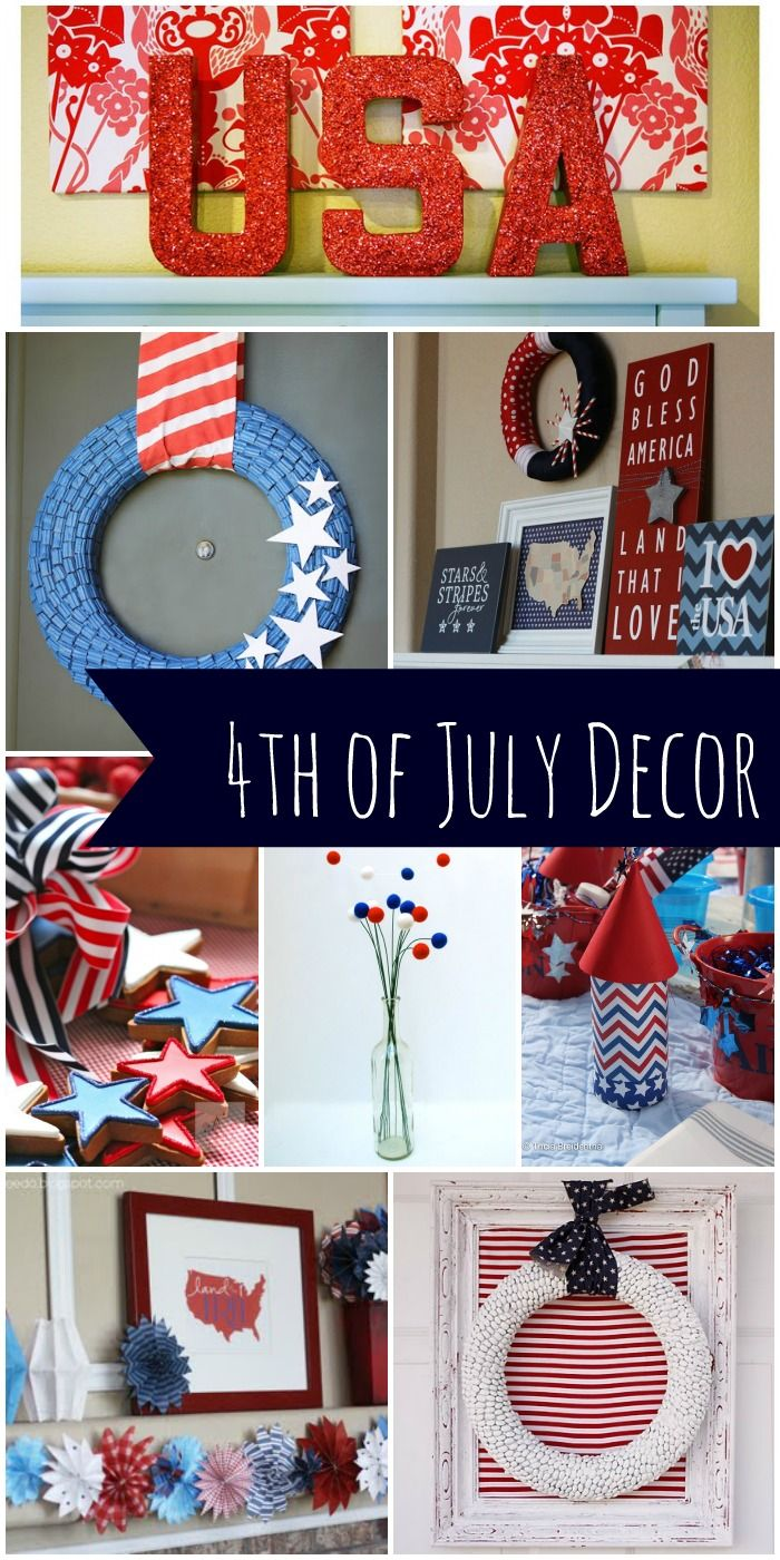 Decor Ideas to make your home look more patriotic and festive! (For any red, white & blue party... Deb)