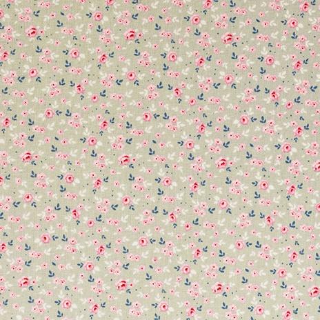 Tilda Fabric - Stine Mini Flowers on Grey Green