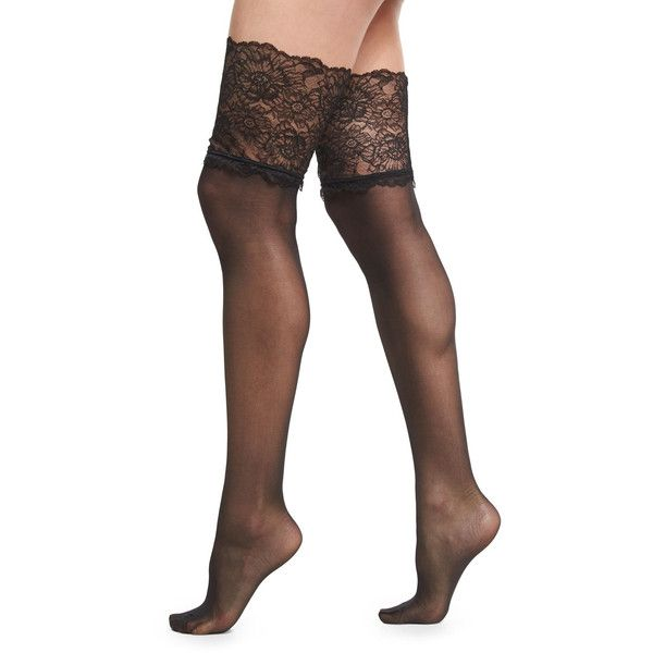 Wolford Lace-Filigree Stay-Up Thigh-High Stockings ($85) ❤ liked on Polyvore featuring intimates, hosiery, tights, lingerie, black, lace thigh high stockings, lingerie pantyhose, lacy lingerie, lace thigh high tights and reinforced toe stockings