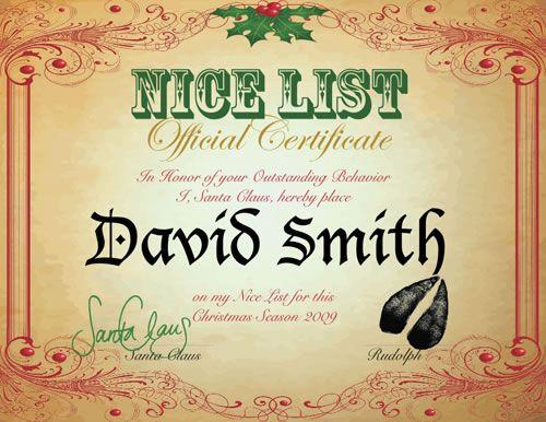 8 best nice list certificate images on pinterest nice list nice list certificate from santa and rudolph yadclub Image collections