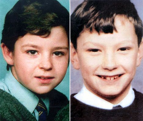 Faces of Evil: In 1993, Jon Venables and Robert Thompson, age 10, kidnapped and murdered 2 year-old Robert Bulger. They were release at age 18 and given new identities. #crime #history #childkillers