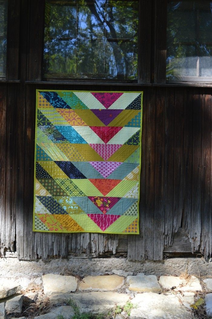 Broken V quilt by Sharon McConnell. pattern by Christa Watson, fabrics by Alison Glass and Tula Pink