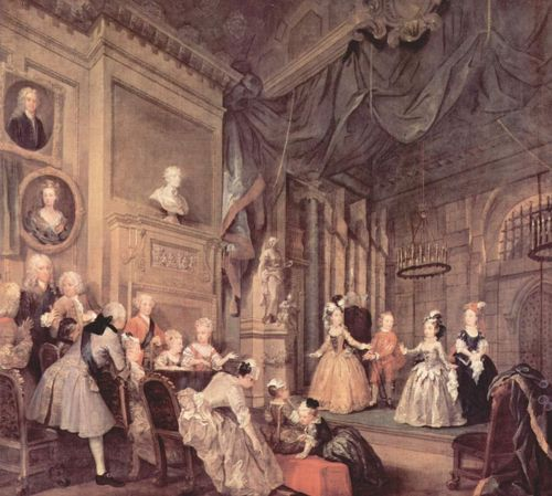William Hogarth (1697-1764)  Children's Theatre in John Conduit's House ~  Hogarth'sinterior scenes were the kind of 18th century paintings that Kubrick sought to emulate with Barry Lyndon.