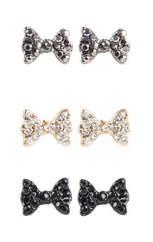 Deb Shops Set of 3 Stone Bow Stud Earrings $6.00: Style