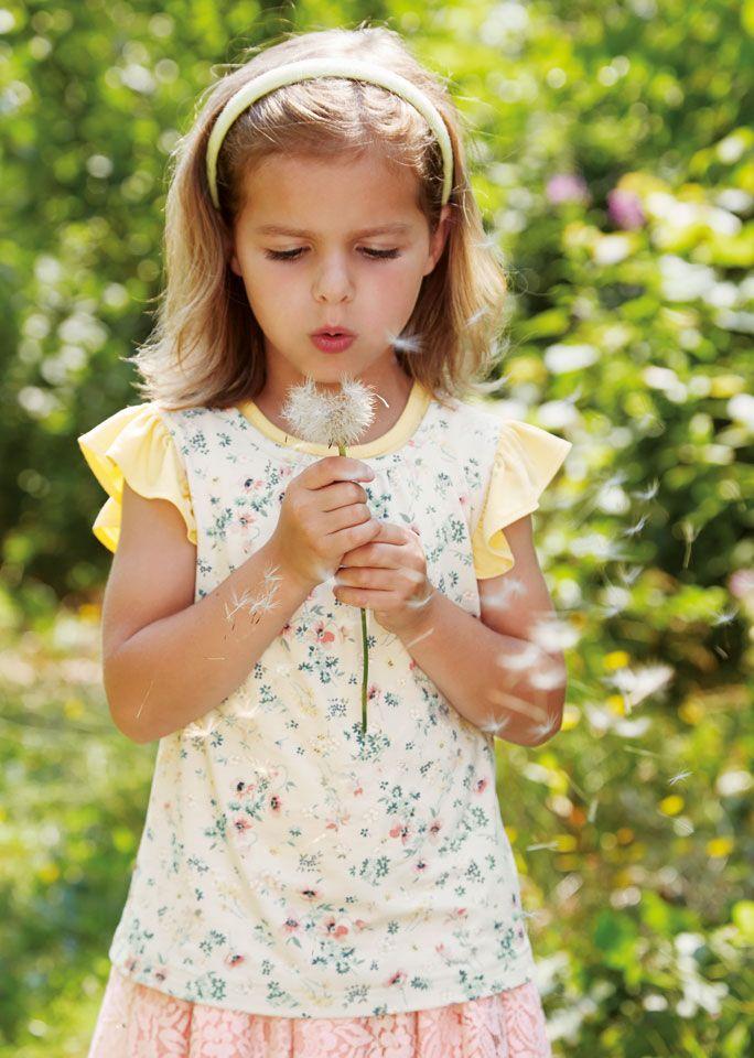 Viscose jersey beige m blomster print - Stof & Stil
