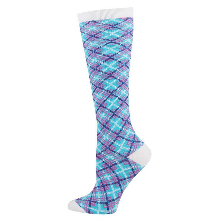 Angled Plaid Womens Compression Socks for Nurses Size 9-11