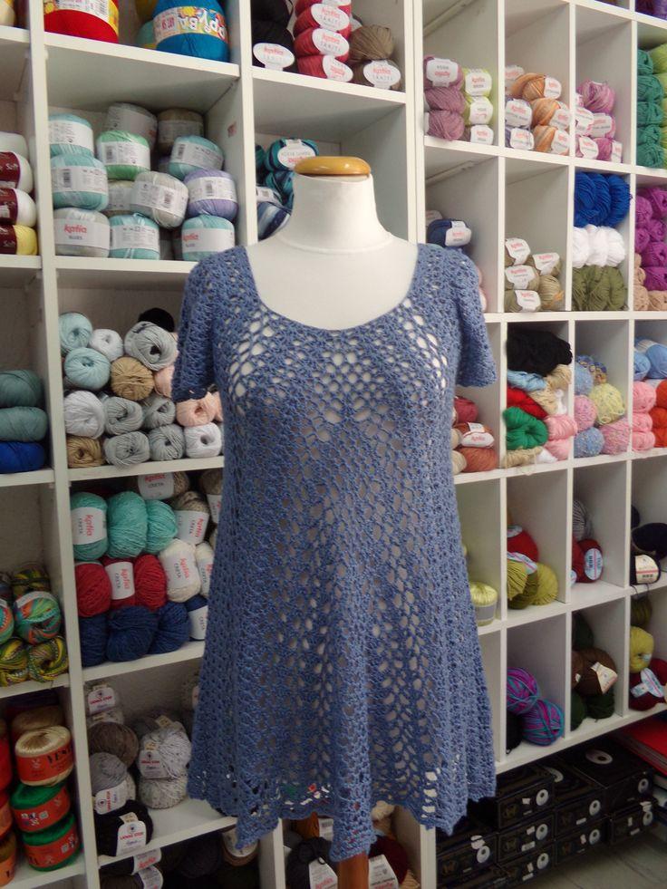 My own lovely crochet lace tunic. Cotton yarn meets the light blue- purple color. It looks like a short crochet dress.