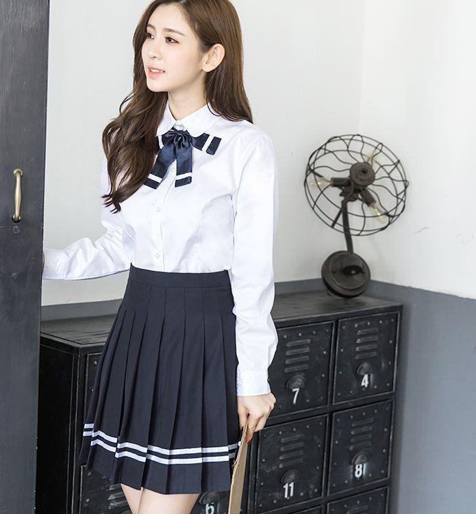 Japanese White Blouse Dark Blue Bow Long Sleeved School Uniform + Skirt Syndrome Store