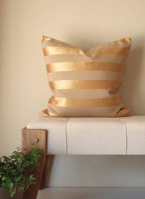 Gold Stripe Decorative Pillow : Gold Pillow - Throw Pillow Cover - Decorative Pillow - Stripes - Beige and Gold Metallic gold ...