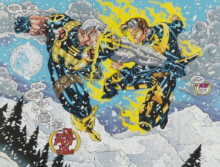 "Cable vs. Nate Grey : ""Now show me what you got! -I'm gonna to put you down!"""