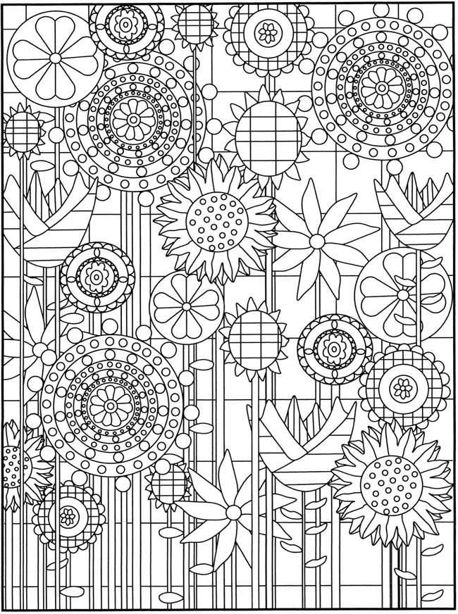 Welcome to Dover Publications / Creative Haven Garden Party Stained Glass Coloring Book / Robin J. Baker and Kelly A. Baker