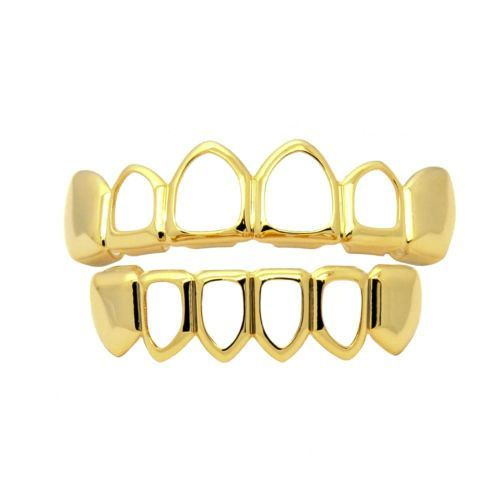 14k Gold Plated Hollow Top Bottom Teeth Grillz