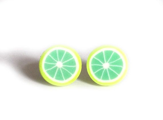 Lime Earrings, Fruit Earrings, Lime Accessories, Lime Fruit, Lime Slice Studs