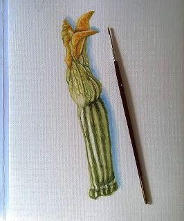"""Dipingere su Tessuto:  Zucchini Watercolor   """"La semplic..."""
