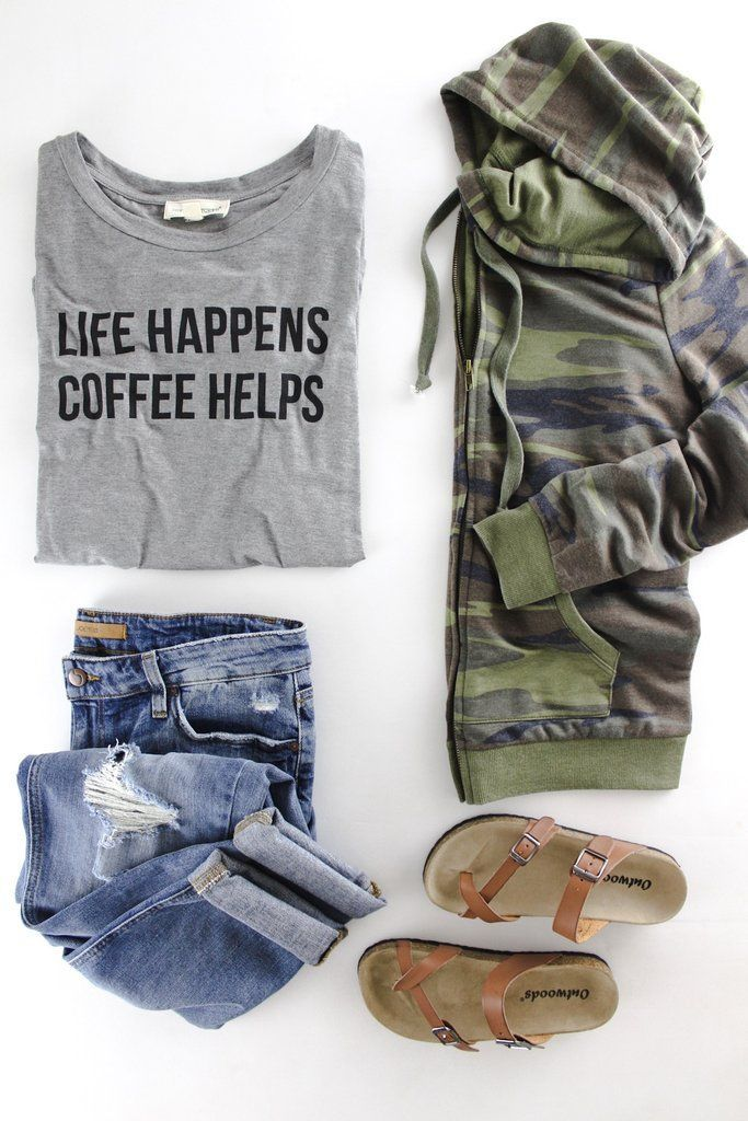 Life Happens Coffee Helps Tee | The Rollin' J | cute Camo hoodie | olive green | casual cute style| boutique fashion | cute coffee tees | therollinj.com