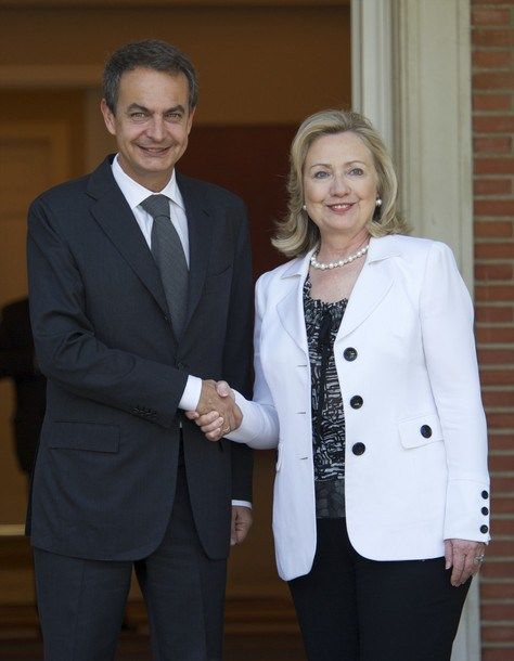Spain's Prime Minister Jose Luis Rodriguez Zapatero Meets Hillary Clinton