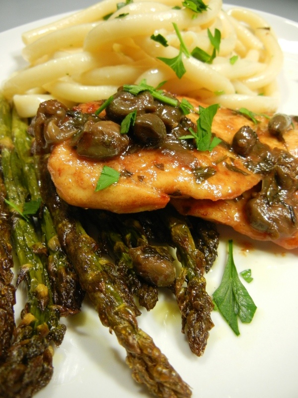 chicken piccata with roasted asparagus