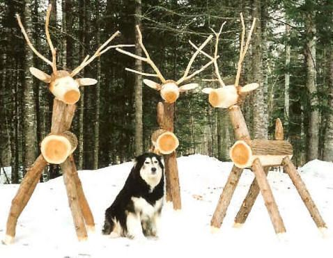 Wooden log reindeer plans woodworking projects plans - Deco de noel naturelle ...