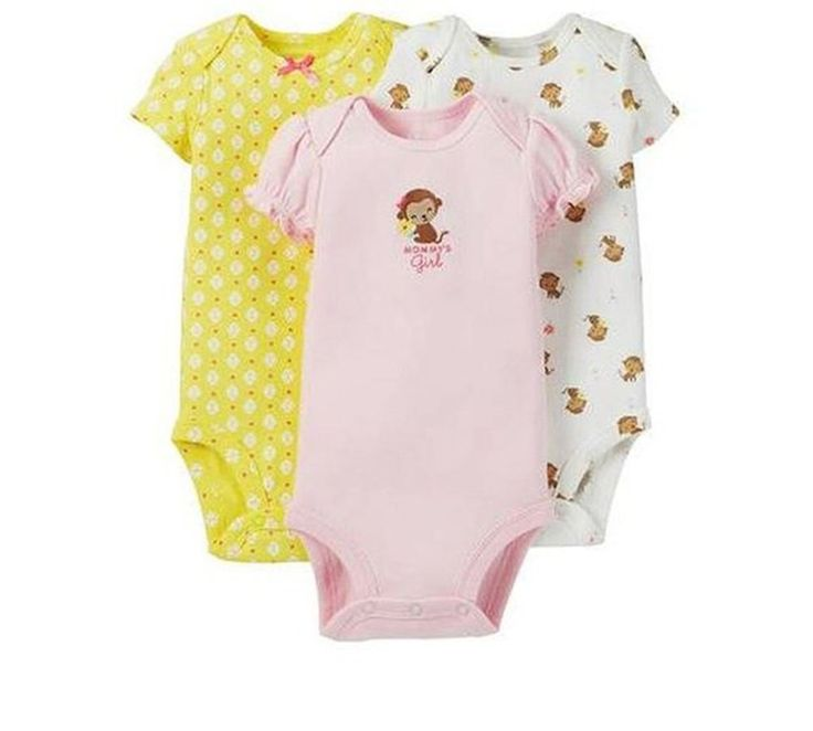 Carters Child of Mine Baby Girl 3 Piece Bodysuit Mommys Girl (0-3M). Made of 100-percent cotton rib. Pack includes 3 short-sleeve Child of Mine bodysuits in cute prints and colors. Nickel-free snaps on reinforced panel at bottom. Expandable shoulder for easy over-the-head dressing. Machine wash cold.