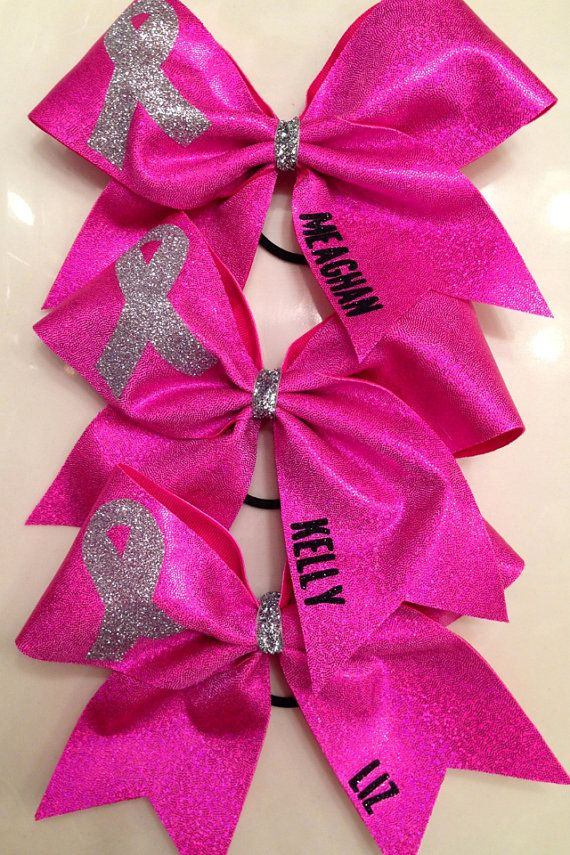 Hey, I found this really awesome Etsy listing at https://www.etsy.com/listing/161443253/cheer-bow-breast-cancer-awareness