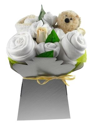 Featuring a lovely natural colour fairtrade baby sleepsuit, this lovely unisex flower box arrangement also contains soft white cotton washcloths, muslin, scratch mitts and beautiful socks rolled like flowers. It's complete with a soft toy - Henry the Hedgehog.  Finished with greenery and artificial flowers, this flower box will make a stunning and unusual gift. Perfect for baby showers or for the arrival of baby boy or girl.