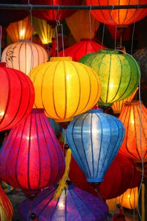 Image result for Rainbow lanterns at night